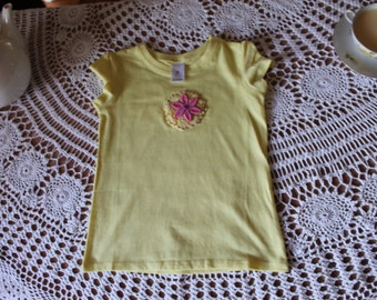 yellow size four girls, hand embroidered (flowers)