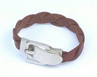 Bracelet of leather braided camel with closing buckle of zamak, Women bracelet braided leather, bracelet of female camel