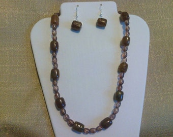 243 Brown Rootbeer Candy Beaded Choker (Gold/brown Agate)