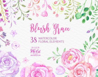 Watercolor Flower Clipart, Blush Pink and Violet Flower Clipart, Wedding Clipart, DIY Wedding Invitations, Pink Rose PNG, Commercial Use art