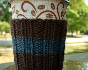 Coffee Cozy: Brown with Blue Stripe