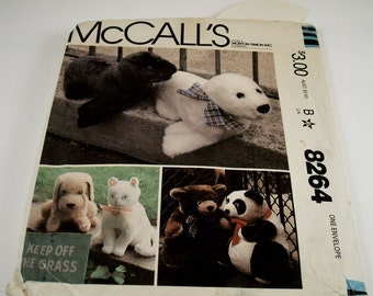 Vintage McCall's Craft Pattern 1982 Seals, Bears, Dogs, Cats #8264
