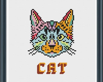 Psychedelic Cat cross stitch pattern  - pdf instant download - colourful - nursery unusual