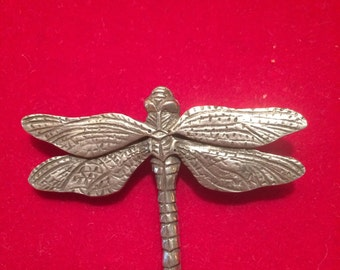 Vintage Seagull Canada pewter dragonfly brooch, circa 1970's, signed.