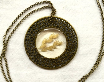 Finished antiqued brass dried grass seed necklace