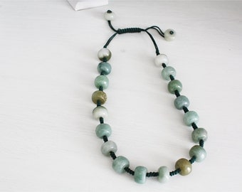 Green glass necklace, ethnic style