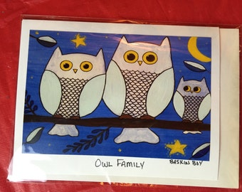 hand made greeting card - owl family