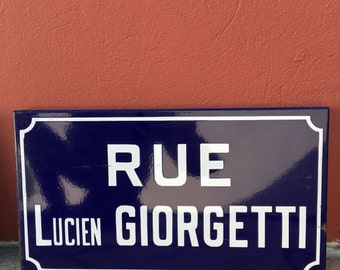 Old French Street Enameled Sign Plaque - vintage giorgetti