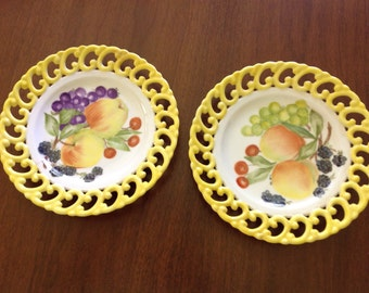 Hand painted and signed fruit plates