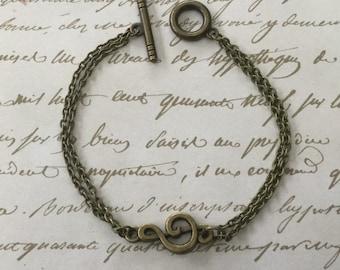 Bronze Music Note Treble Clef Bracelet on Double Bronze Chain