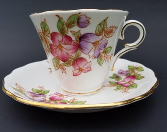 Coldough~Tea Cup and Saucer~Fine Bone China~#6631 pattern~Made in England~1950's