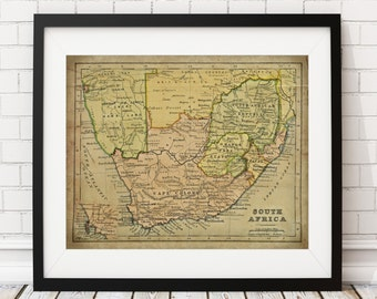 South Africa Map Print, Vintage Map Art, Antique Map, Wall Decor, South African Wall Art, Africa Art, Africa Print, Cape Town, Industrial