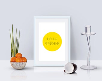 hello sun shine,instant download,wall art,quote,printable,home decor,wall decor,dot,modern,gift,summer,chic