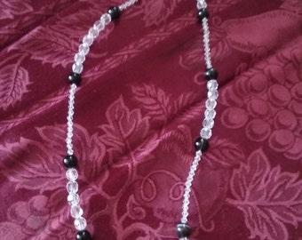 Beaded Crystal look Necklace with Black Stone .