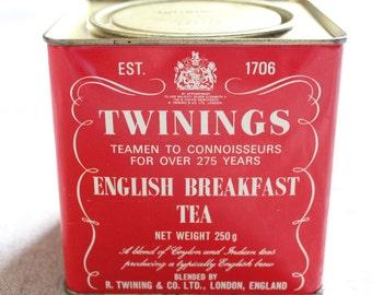 Vintage Red Twinings Tea Tin English Breakfast