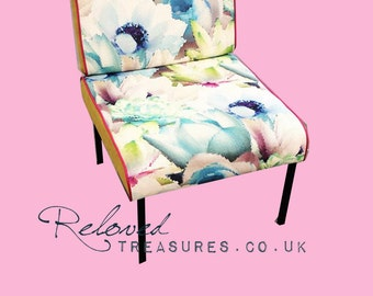 Modern Floral with Lime & Hot Pink upholstered chair