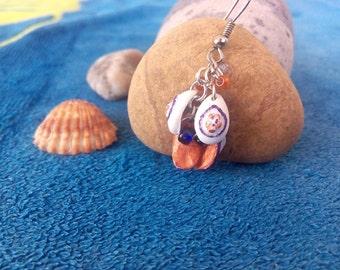 Long earrings duplex handmade PETALOS - dynamic,slope,petals,duplex,polymer,clay,colored,beads,acrylic