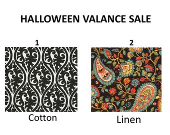 SALE Clearance Halloween curtains Lowest Price Kitchen Curtain Kitchen Window valance black and white cotton 54x14, 54x17, 54x20, 54x22