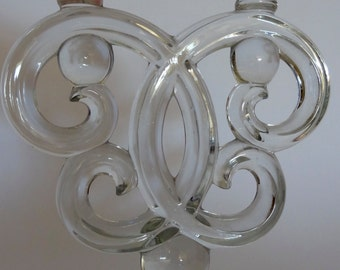 Stylish glass double candlestick holder , 1940's style