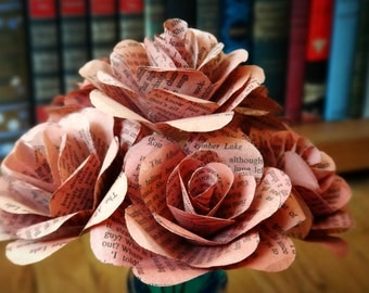 Pink Book Page Flowers