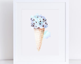 1013 // Mint Chocolate Chip Ice Cream Cone Design Digital Download JPEG and PDF