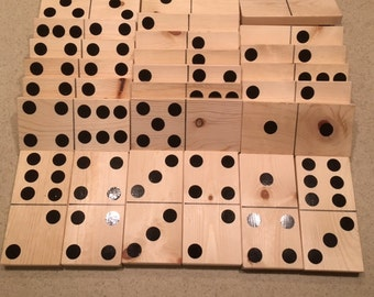 Giant Wooden Yard Dominoes! Full set of 28 Tiles up to Double Sixes.  Indoor or Outdoor Fun.