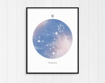 Pisces Wall Art, Zodiac art print, Pisces Printable Birthday Gift, Pisces Constellation, Pisces Star Sign, Digital Download, Zodiac Art