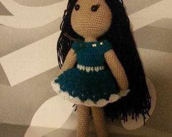 Knitted Doll with Long Hair