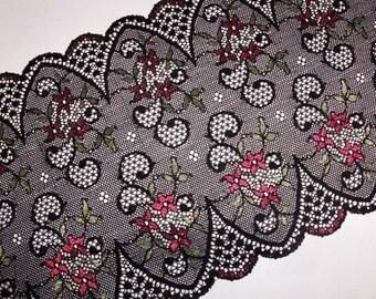 2m black colorful elastic lace 18cm wide