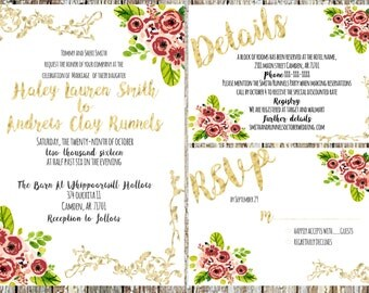 Vintage Floral Wedding Invitation Set of 3- Digital Download