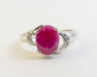 Natural Ruby Ring, Ruby Ring, Oval Ruby Ring, Genuine Ruby Ring, Promise Ruby Ring, Free Shipping