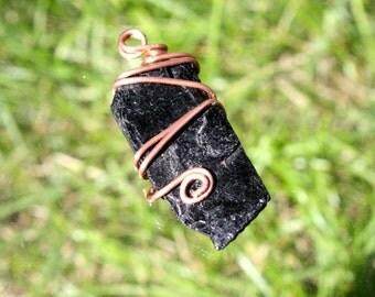 Black Tourmaline and Copper Pendant