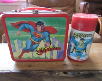 Vintage 1978 Superman TV Show Metal Lunch Box with Thermos DC Comics * RARE *