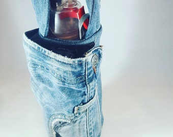 Upcycled water bottle sling denim insulated big pocket for phone small pocket for money, cards
