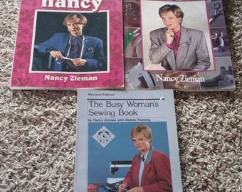 3 Piece Lot Sewing with Nancy Books Express Busy Woman's Sewing Book Best Of