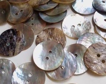 20 Mother of Pearl Shell Round Buttons 20mm 2 Hole for Scrapbooking, Sewing, Crafts - 52H