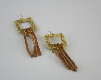 Bronze and leather earrings