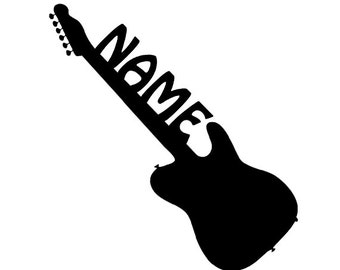 Personalized Glossy Vinyl Decal, Guitar