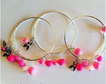Breast Cancer Awareness Bracelet, Breast Cancer Support Bangle Bracelet, Pink Support Ribbon Bracelet, Pink Cancer Awareness Support Bangle