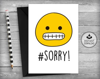 I'm Sorry Card | Sorry Card | Apology Card | Forgive Me Card | Sympathy Card | Emoticons | Smiley | Printable Cards | Greeting Cards - Sorry