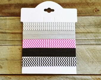 Mulit-color Chevron  (FOE) Elastic Hair Ties