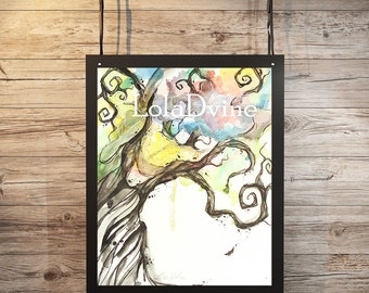 Watercolor Twist Curly Tree 8x10 Print by Lola D'Vine