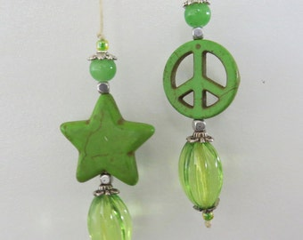 String Beaded Bookmarker With green star and peace sign