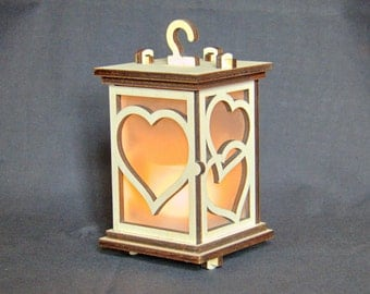 "DXF laser cut download -- Battery Candle Lantern ""Hearts"""