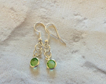 Peridot Crystal Earrings, August Birthstone Earrings, Dangle Drop Earrings, Silver Earrings, Wedding Jewellery, Silver Jewellery, Peridot.