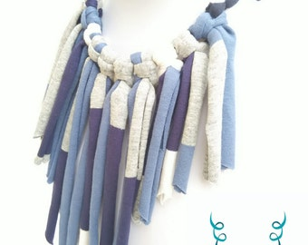 Recycled handmade textile necklace.