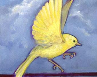 Yellow Warbler Landing Print, Bird Art, Bird Art Print, Office Cubicle Art, Bird Painting, Warbler Painting, Warbler Print