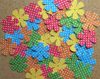 """40 - 1 1/2"""" Assorted Flower Die Cuts for Paper Crafts Dotted"""