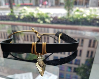 Tribal Tendencies (black leather/ gold leather/ gold pendent)