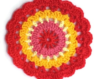 Crocheted mini mandala coasters, vintage inspired, dining table decorations, colourful party decorations, home decor, red yellow and pink